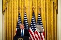 """Image: Trump delivers remarks on """"Operation Legend: Combating Violent Crime in American Cities"""" at the White House on July 22."""