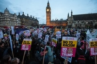 Image: Protesters rally in London's Parliament Square on Feb. 20, 2017, against Trump's proposed state visit to Britain.