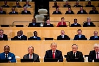 Image: U.N. Secretary General António Guterres, second from left, and Trump, center, at a meeting on reform of the United Nations at U.N. headquarters in New York on Sept. 18, 2017.