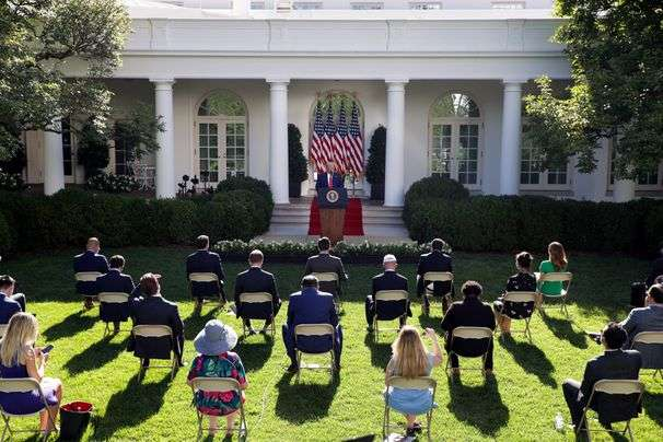 Trump uses Rose Garden event for extended campaign-like attack on Biden