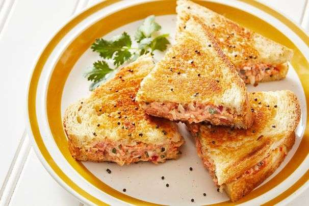 Grilled Indian yogurt sandwiches offer a cooling crunch and creaminess in each bite