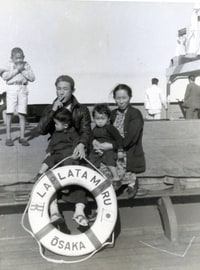 The La Plata Maru took the Kakitas — Howard, big brother Kenny, and parents Frank and Tomiko — to Japan in January 1940. (Family photo)