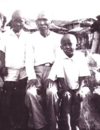 Howard Kakita, right, his older brother, Kenny, and paternal grandfather, Yaozo, all lost their hair because of radiation exposure from the atomic bomb blast in Hiroshima. (Family photo)