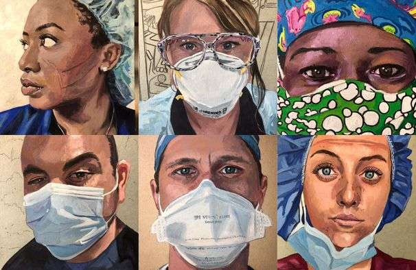 Health-care workers are opening their mailboxes and finding their own portraits