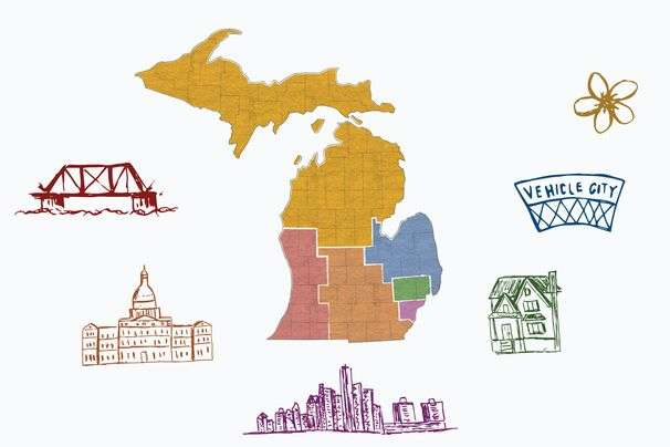 The six political states of Michigan