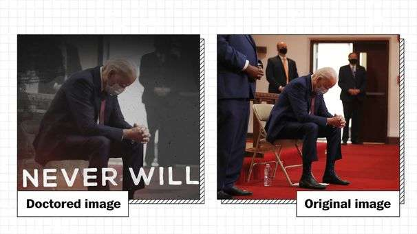 Trump campaign ad manipulates three images to put Biden in a 'basement'