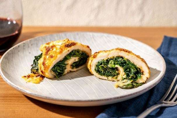 Stuffed chicken rolls make a weeknight dinner that's pretty enough for company