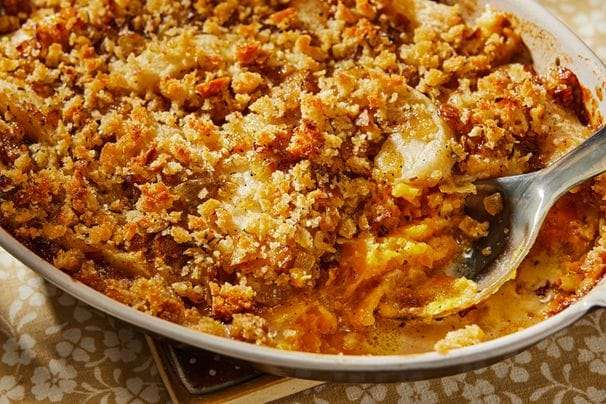 Crisp on top and cheesy throughout, this butternut squash and apple gratin belongs on your fall table