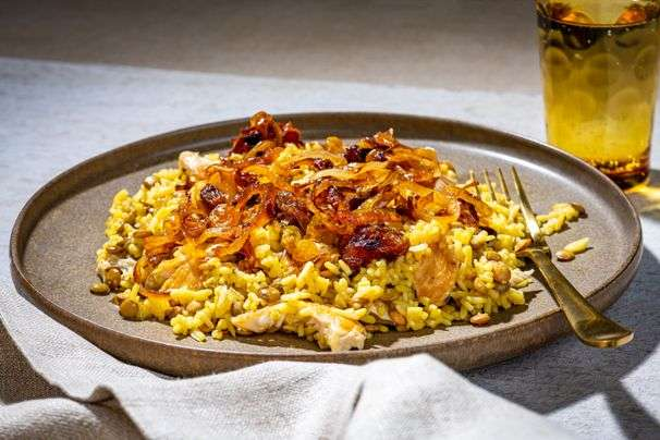 Fragrant saffron and sweet onions make this Persian-style chicken and rice a feast for the senses
