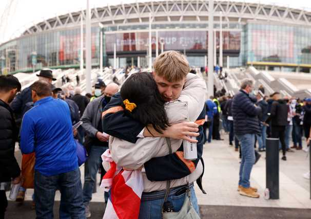 At Britain's Wembley Stadium, the venerable FA Cup is also a science study for post-pandemic crowds