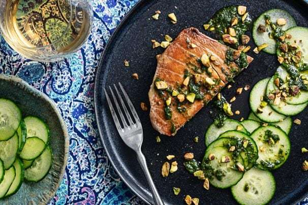 This 20-minute tuna steak with basil-mint oil is proof that a recipe can be speedy and flavorful