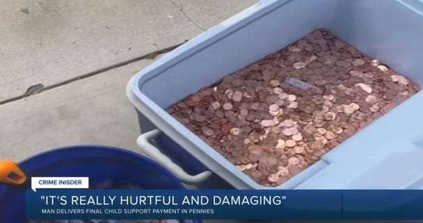 A man dumped 80,000 pennies on the lawn for his last child-support payment. His daughter paid it forward.