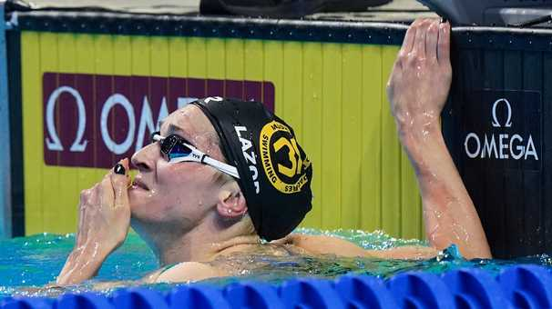 Seven weeks separated the worst day of Annie Lazor's life from the greatest night of her swimming career