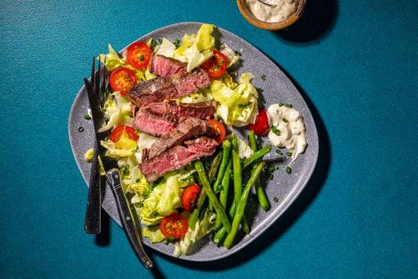 This steak salad with blue cheese and green beans is a summery twist on the classic wedge