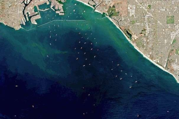 Satellite imagery shows the scale of the traffic congestion at the ports of Los Angeles