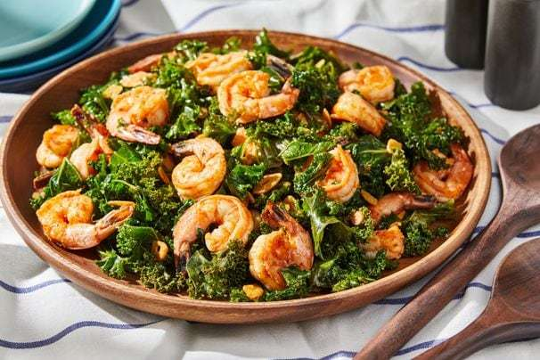 Shrimp with kale, garlic and smoked paprika channel Spanish tapas in less than 30 minutes