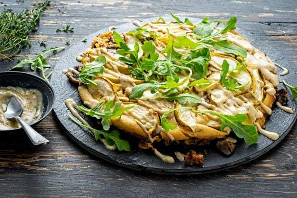 This custardy chickpea pancake with mushrooms and apples makes an easy fall supper